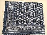 Indianhandicraft Jaipuri Indigo Kantha - Funda para cama de estilo vintage, diseño de flores, color marrón