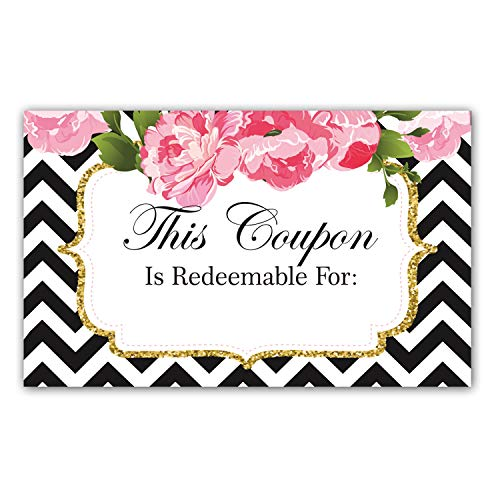 """50 Coupon Cards, Floral Blank Gift Certificates, 3.5""""x2"""" Business Blank Coupons Gift Certificates Vouchers, for Small Business Package Insert"""