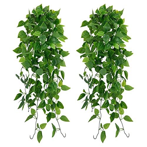 Künstliche Hängepflanze, Gefälschte Ivy Hängende Girlanden für Hochzeit Hausgarten Wanddekoration,Hängekörbe,Hochzeitsgirlande- Scindapsus Blätter (2 Stück) (GRÜN)