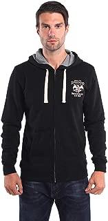 Full-Zip Hoodie with Front Pockets Lightweight Fitted Hooded Fleece Sweatshirt for Men