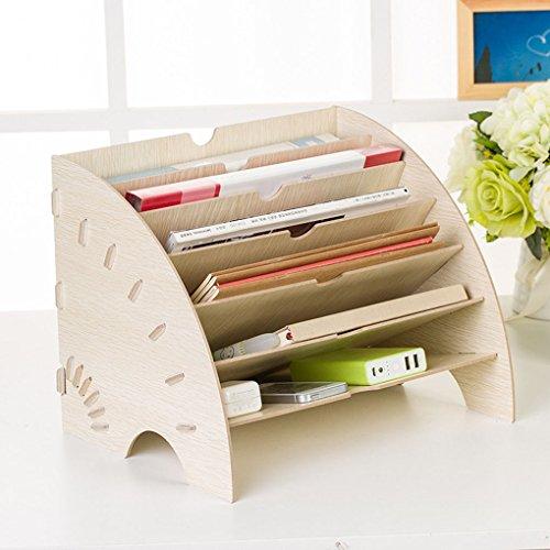 DIY Wooden Magazine File Holder Organizer Multi Trays Papers Documents Sorter Shelf Letter Tray Dividers Display Rack Storage Bin Basket Home & Office Desktop Folder Organizer Rack