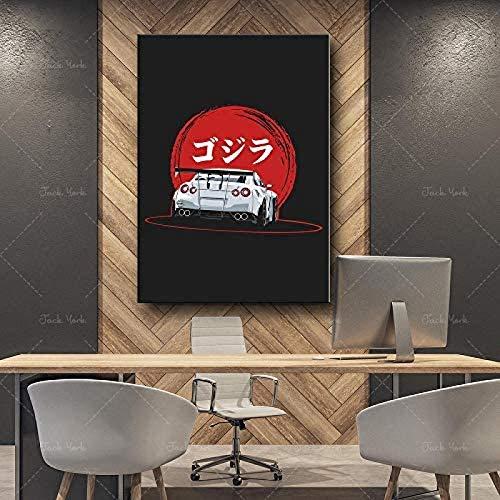 Rzhss Decoración Moderna Del Hogar Pintura En Lienzo Carteles Retro Nissan Gtr 35 Impresión Artística Imagen De Pared Para Dormitorio Sala De Estar 50X70Cm 20X28 Pulgadas Sin Marco