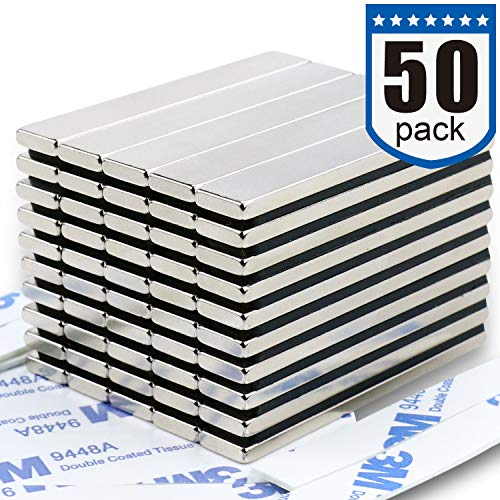 Strong Neodymium Bar Magnets (50 Pack) - 2X Stronger, 2X Thicker, Powerful Rare Earth Magnets - Industrial Strength NdFeB Magnet Set for Fridge, DIY, Crafts - 60 x 10 x 3 mm