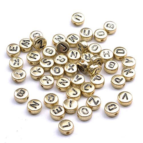 YJYJ Letras Alfabeto Beads 4 * 7 Mm Redondo Perlas De Acrílico DIY Accesorios De Joyería (Oro) 100pcs