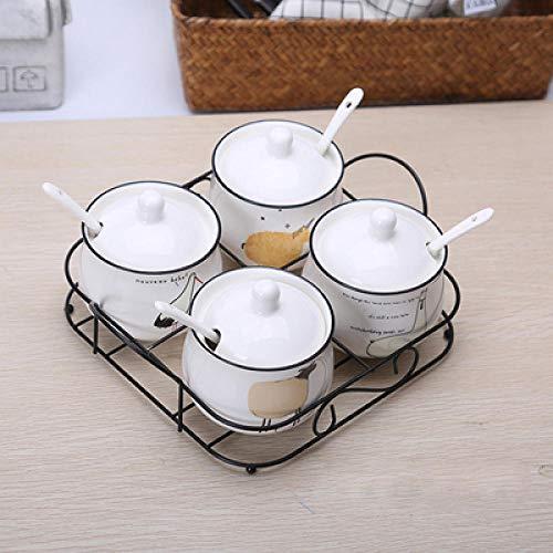 Lghoen Barattoli per Zucchero, zuccheriera con Fenicotteri e Girasole, zuccheriera a Tema Mattina in Ceramica per la casa e la Cucina Modello 15