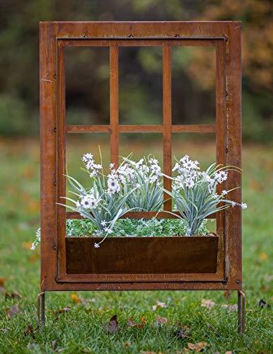Rostalgie Edelorst Sprossenfenster mit Pflanzkasten zum Stecken Gartendekoration