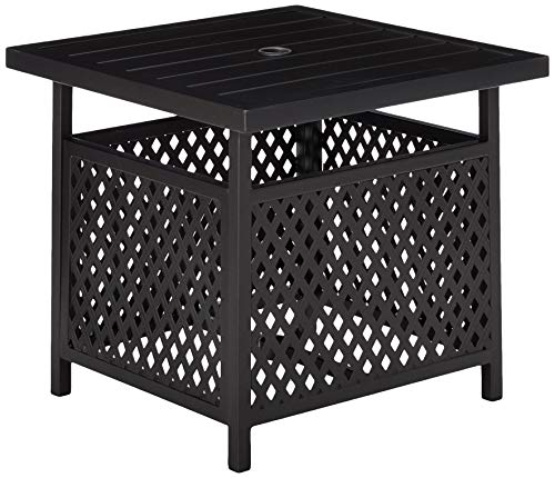 LOKATSE HOME Patio Umbrella Table Stand with Umbrella Hole, Outdoor Table Base Only Garden Table Side Table Bistro Table - Black