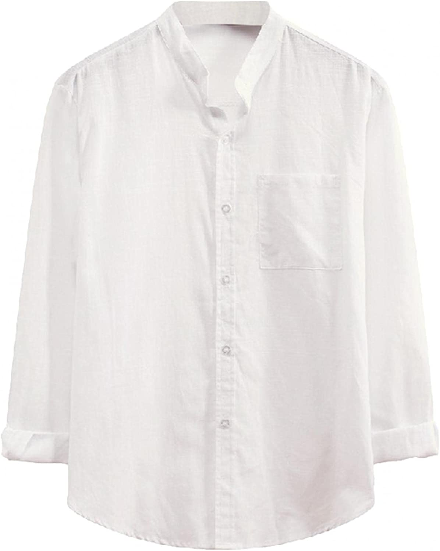 JSPOYOU Casual Shirt for Men Long Sleeve Button Up Slim Fit Dress Shirts Regular Fit Loose Blouse Tops