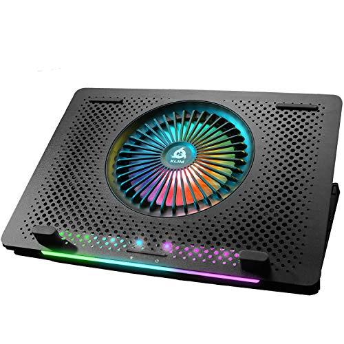 KLIM Orb + Laptop-RGB-Kühler- 11 bis 15.6 Zoll + Laptop-Gaming-Kühlung + USB-Lüfter mit Metallgitter + Stabil + Mac- und PS4-kompatibel + Neuheit 2021