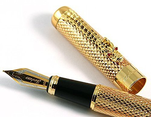 GOLD LEAF Jinhao New Golden Dragon Red Crystal Eyes Fountain Pen with Push in Style Ink Converter