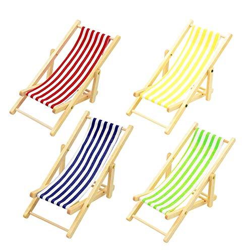 CLTYQ Silla plegable de playa en miniatura, de madera, chaise ongue, juguete, casa de muñecas, muebles de jardín