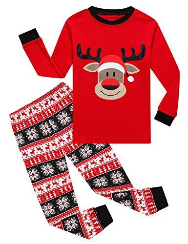 KikizYe Little Girls Boys Long Sleeve Christmas Pajamas Sets 100% Cotton Pyjamas Kids Pjs Size 6 Reindeer