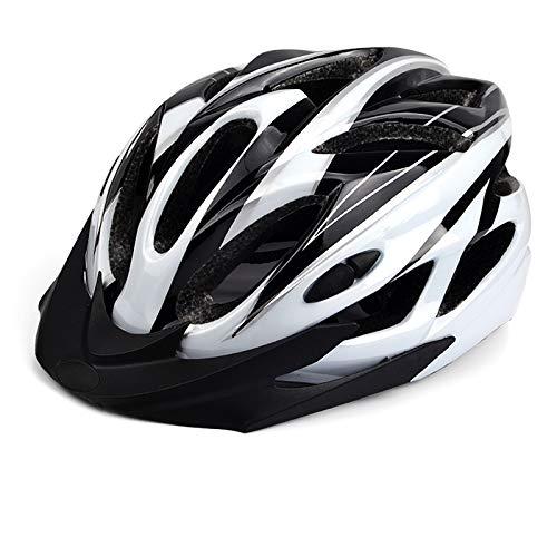 NNJJGS Cycle Helmet MTB Bike Bicycle Skateboard Scooter Hoverboard Helmet for Riding Safety Lightweight Adjustable Breathable Helmet for Men Women with Detachable Visor,White+Black