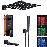 Sistema de ducha LED empotrado con 3 funciones, pantalla LCD, indicador temperatura, negro mate, juego inyección aire 40 cm x cm, cabezal cuadrado lluvia latón y acero inoxidable