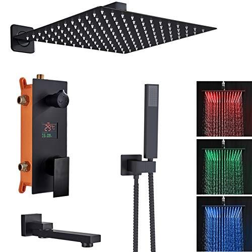 Sistema doccia a LED da incasso, set doccia con 3 funzioni, display LCD, display di temperatura nero opaco, con soffione quadrato da 40 cm x 40 cm, ottone e acciaio inox