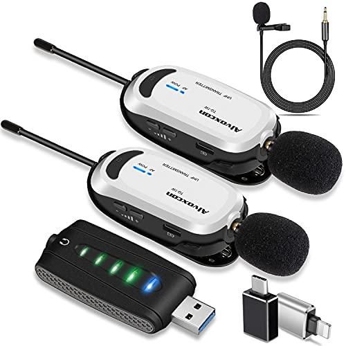 ワイヤレスマイク USB Alvoxcon 無線マイク PCマイク Androidフォン iPhone ピンマイク イヤホン端子付き 高音質UHF 録音録画 拡声 モニタリング 軽量 日本語説明書 二人用UM320Pro