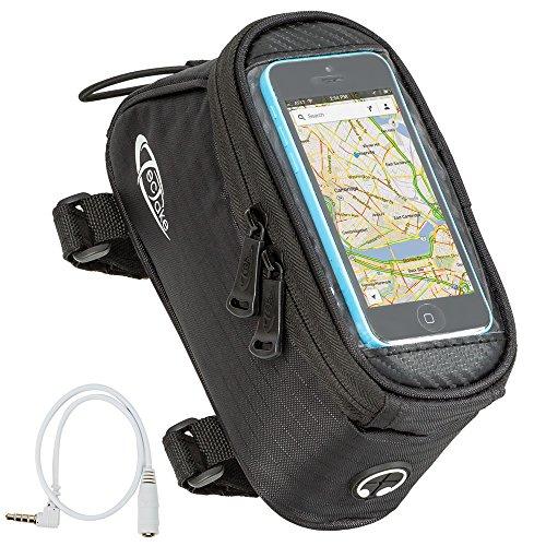 TecTake Handy Rahmentasche Oberrohrtasche wasserabweisend Navigation Halterung für Fahrrad - Diverse Farben und Größen - (Schwarz | Größe S | Nr. 401613)