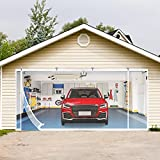 Magnetic Garage Screen Doors Curtain for 2car Garage 16x7 Ft, Double Garage Doors Mosquito Net Mesh with Magnets for Two Car, White