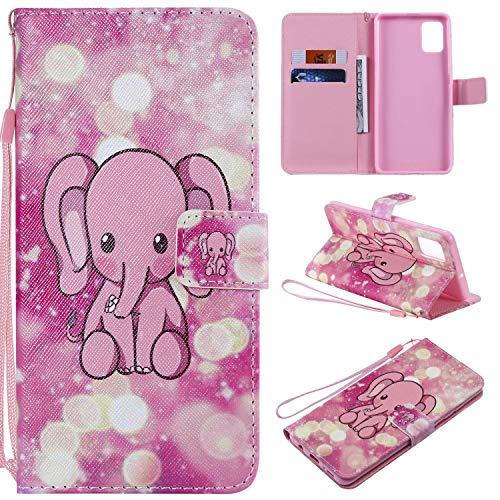 Miagon Flip PU Leder Schutzhülle für Samsung Galaxy S20 Plus,Bunt Muster Hülle Brieftasche Case Cover Ständer mit Kartenfächer Trageschlaufe,Rosa Elefant