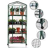 Worth Garden Estantes portátiles de 4 Niveles Mini Invernadero con Ruedas Removibles Cubierta de PVC Comercial cálida Interior y Exterior Planta de Invernadero Transparente