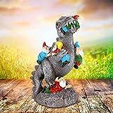 The Great Garden GNOME Massacre Achort Angry Dragon Eating Zwerge, Witziger Zwerg Gartenzwerg Gartendeko Spielzeit Gartenzwerg Outdoor Statue und Dekoration