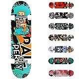 WeSkate Planche à roulettes pour Les débutants, 31 x 8'' Complète Skateboard 7 Plis Double Kick Concave Planche de Skate Anti-Dérapant Roues PU pour Les Enfants Jeunes et Adultes (Rose)