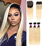 Ombre 1b 613 Human Hair Bundles with 4×4 Lace...