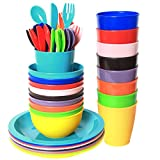 Youngever 54 pcs Plastic Kids Dinnerware Set of 9 in 9 Assorted Colors, Toddler Dining Set, Cups,...
