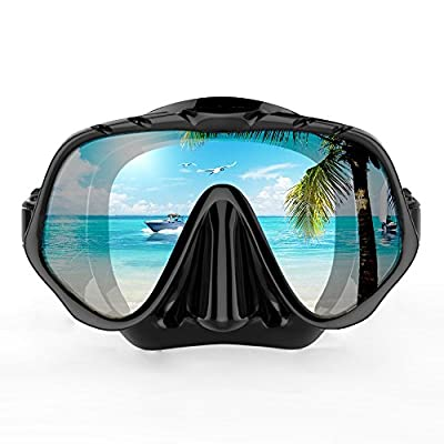 COPOZZ Scuba Mask, No Fogging Snorkeling Scuba Dive Glasses, Great Seal Free Diving Tempered Glass Mask Goggles (One Lens Black)