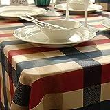 Tischdecken aus 100% Baumwolle, Flecken- und feuchtigkeitsbeständig, kariert Rechteckige, waschbare Tischdecken für Picknicktische
