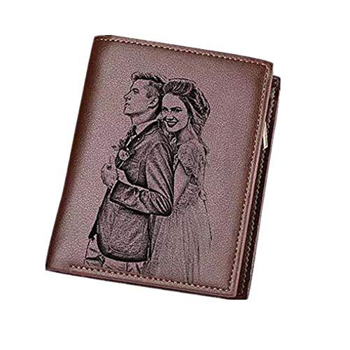Personalisiertes echtes Leder für Männer Custom Herren Geldbörse Gravierte Foto Brieftasche Väter Geschenk