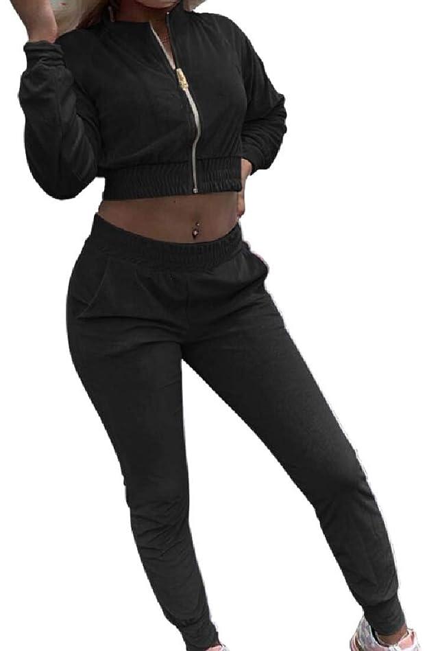 反対する食器棚ジャベスウィルソンWomen 2 Piece Outfits Tracksuit Crop Top Jacket + Long Pants Set