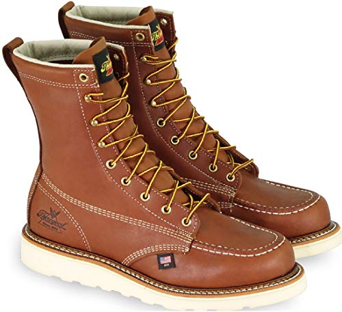 "Thorogood Men's 814-4201 American Heritage 8"" Moc Toe, MAXwear Wedge Non-Safety Toe Boot, Tobacco Oil-Tanned - 10 D US"