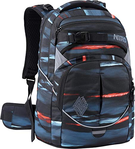 Nitro Superhero, Schulrucksack, Rucksack, Backpack, abnehmbarer Hüftgurt, robuste Bodenplatte, Thermotasche, Laptopfach, Acid Dawn, 30L