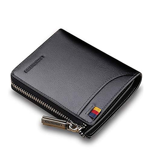 LAORENTOU Genuine Leather Wallets for Men, RFID Blocking, Multi Card Holder Slim Mens Wallet with Zipper Coin Purse, Bifold Wallet for Man, Boys, Teens(Black)