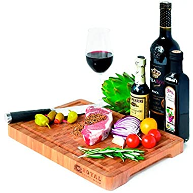 Thick End Grain Bamboo Wood Cutting Board/Kitchen Butcher Block - Heavy Duty Chopping Board With Juice Grooves and Handles. Best for Carving Meat, Fish and Chicken | Perfect Housewarming Gift