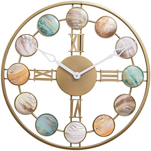 Reloj de pared para sala de estar, 19.6 pulgadas, grande, de metal, silencioso, estilo nórdico, moderno, para casa, hotel, bar, oficina, regalo, números romanos