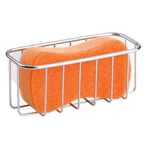 mDesign Portaestropajos de Metal con Ventosa – Cesta de Rejilla para Esponja – Ideal como Estante para baño y Organizador de Fregadero – Color: Plateado
