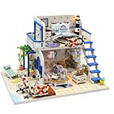 Beautyrain DIY Puppenhaus DIY Seaview Zimmer Mode mit LED Modell Micro-Landscape Educational