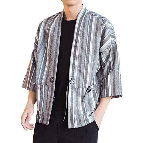 YIMANIE カーディガン メンズ 夏 和式パーカー 七分袖 シャツ カジュアルシャツ 羽織 ストライプ柄 トップス 麻 和風 コート ポケット付き おしゃれ