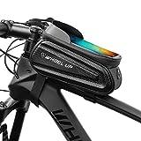 YumyKit Bike Frame Bag - Waterproof Bicycle Bag Touchscreen Mountain Road Bike Phone Holder Top Tube Bag Cycling Phone Mount Pack Phone Case for 7' iPhone Xs max 7 8 Plus(Black)
