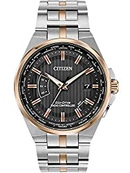 Comes with a 5 Year Citizen UK Warranty Citizen Mens World Perpetual A-T Two Tone Bracelet Watch CB0166-54H