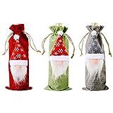 Funda para Botella de Vino de Navidad,3 piezas Bolsas Navideñas para Botellas de Vino Juegos de Funda de Botella de Navidad Santa Claus Botella de Vino Bolsa para la Decoración de la Cena de Navidad