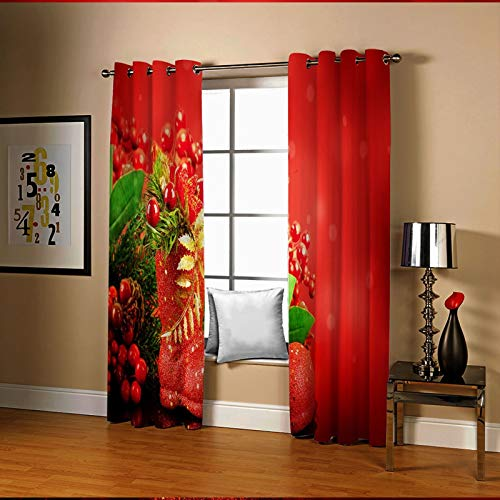 Amody Christmas Window Treatments Curtains Blackout Christmas Theme Decoration Window Drapes Red Elegant Window Curtains for Living Room 264x214CM