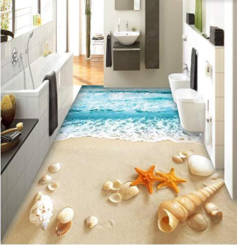 Custom Minecraft Teppich 3D Boden Wandbild Pvc Strand Sand Meer Welle Schale Spray 3D Bodenmalerei-350 * 245Cm