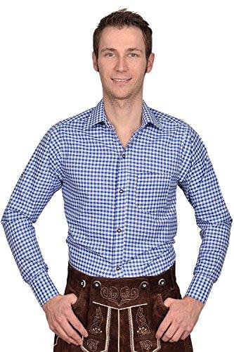 Edelnice Trachtenmode Trachten Herren Hemd blau weiß kariert Gr M