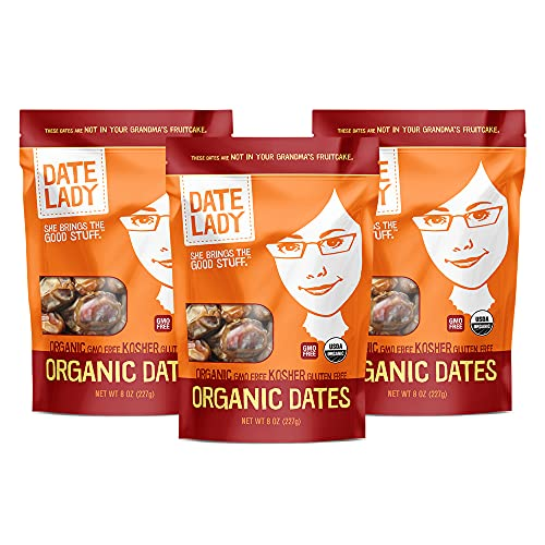 Date Lady Organic Barhi Dates | Vegan, Paleo, Gluten-free & Kosher (3 Bags)