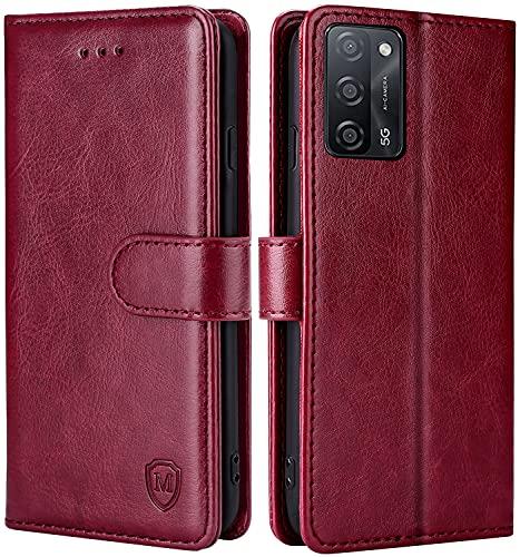 FMPCUON Hülle für Oppo A55 5G/A53S 5G/A53 5G Handyhülle [Standfunktion] [Kartenfach] [Magnetverschluss] Tasche Flip Hülle Schutzhülle lederhülle flip case für Oppo A55 5G/A53S 5G/A53 5G Rot