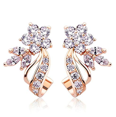 Rose Flower Ribbon Inlay White Crystal 18k Copper Plated Rose Gold Cubic Zirconia Stud Earring
