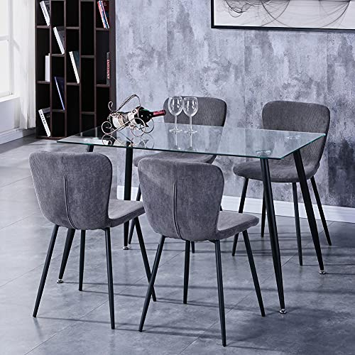 GOLDFAN 5-Pcs Dining Table Chair Set Modern Tempered Glass Dining Table with 4 Fabric Chairs for Kitchen Home Office,120cm/Grey
